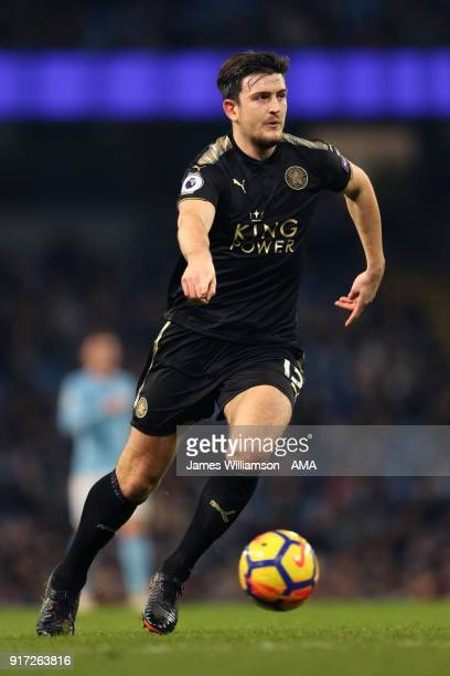 Harry Maguire of Leicester City during the Premier League match between Manchester City and Leicester City at Etihad Stadium on February 10 2018 in...