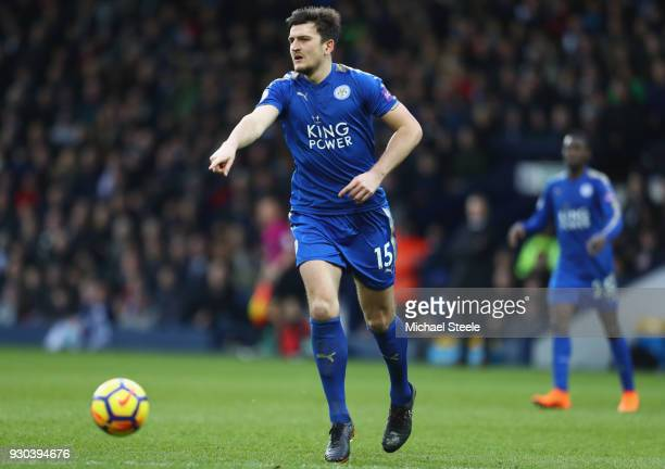 Harry Maguire of Leicester City during the Premier League match between West Bromwich Albion and Leicester City at The Hawthorns on March 10 2018 in...
