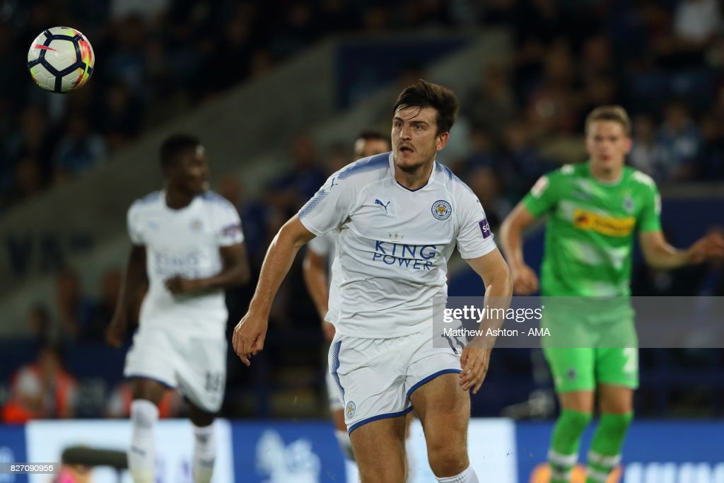 Harry Maguire of Leicester City during the preseason friendly match between Leicester City and Borussia Moenchengladbach at The King Power Stadium on August 4, 2017 in Leicester, United Kingdom.