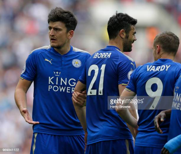 Harry Maguire of Leicester City gestures during the Premier League match between Tottenham Hotspur and Leicester City at Wembley Stadium on May 13...