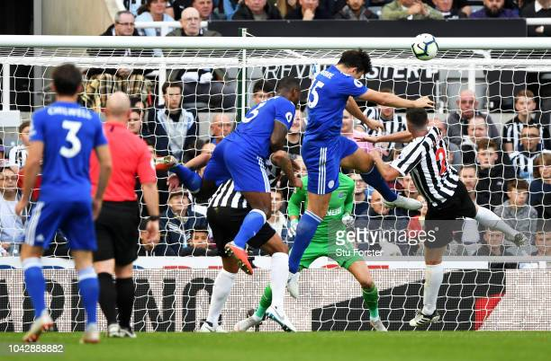 Harry Maguire of Leicester City heads towards goal to score his sides second goal during the Premier League match between Newcastle United and...