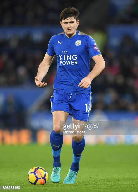Harry Maguire of Leicester City in action during the Premier League match between Leicester City and Manchester United at The King Power Stadium on...