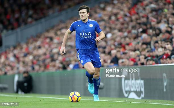 Harry Maguire of Leicester City in action during the Premier League match between Liverpool and Leicester City at Anfield on December 30th 2017 in...