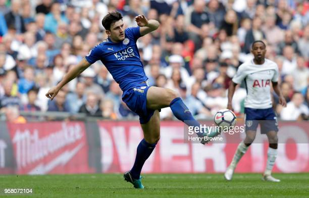 Harry Maguire of Leicester City in action during the Premier League match between Tottenham Hotspur and Leicester City at Wembley Stadium on May 13...