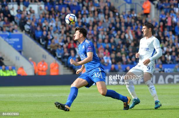 Harry Maguire of Leicester City in action with Alvaro Morata of Chelsea during the Premier League match between Leicester City and Chelsea at King...