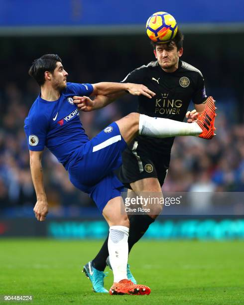 Harry Maguire of Leicester City is challenged by Alvaro Morata of Chelsea during the Premier League match between Chelsea and Leicester City at...
