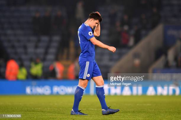 Harry Maguire of Leicester City looks dejected during the Premier League match between Leicester City and Crystal Palace at The King Power Stadium on...
