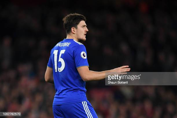 Harry Maguire of Leicester City looks on during the Premier League match between Arsenal FC and Leicester City at Emirates Stadium on October 22 2018...