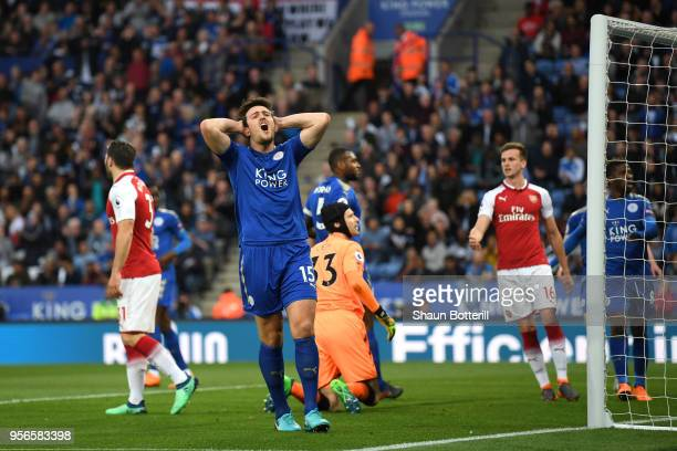 Harry Maguire of Leicester City reacts during the Premier League match between Leicester City and Arsenal at The King Power Stadium on May 9 2018 in...