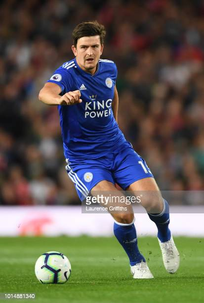 Harry Maguire of Leicester City runs with the ball during the Premier League match between Manchester United and Leicester City at Old Trafford on...