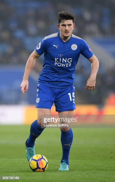 Harry Maguire of Leicester City runs with the ball during the Premier League match between Leicester City and AFC Bournemouth at The King Power...