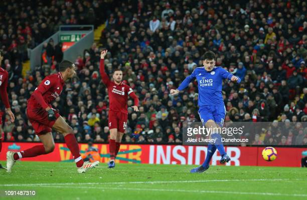 Harry Maguire of Leicester City scores his goal during the Premier League match between Liverpool FC and Leicester City at Anfield on January 30 2019...