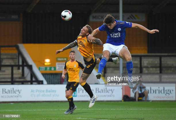 Harry Maguire of Leicester City scores his team's first goal during the PreSeason Friendly match between Cambridge United and Leicester City at Abbey...