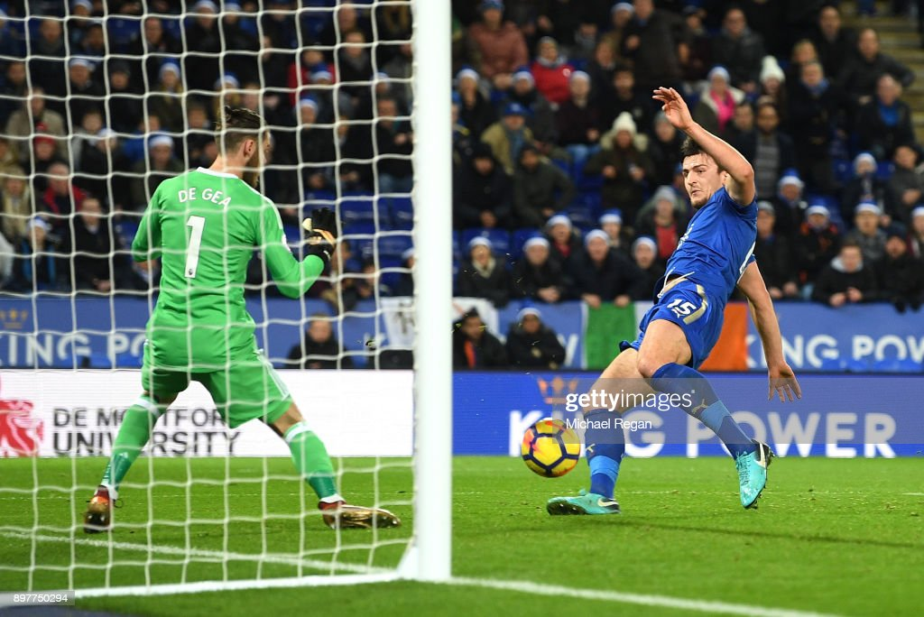 Harry Maguire of Leicester City scores his team's second goal during the Premier League match between Leicester City and Manchester United at The King Power Stadium on December 23, 2017 in Leicester, England.