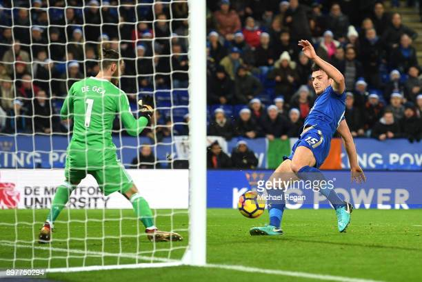 Harry Maguire of Leicester City scores his team's second goal during the Premier League match between Leicester City and Manchester United at The...