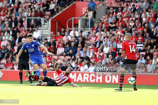 Harry Maguire of Leicester City scores the winning goal during the Premier League match between Southampton FC and Leicester City at St Mary's...
