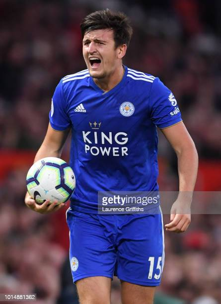 Harry Maguire of Leicester City shouts during the Premier League match between Manchester United and Leicester City at Old Trafford on August 10 2018...