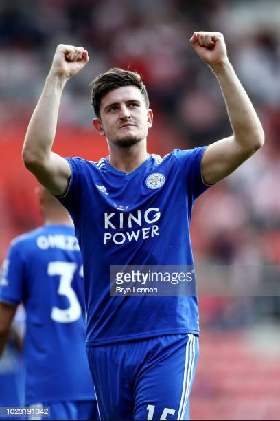 Harry Maguire of Leicester City shows appreciation to the fans after the Premier League match between Southampton FC and Leicester City at St Mary's...