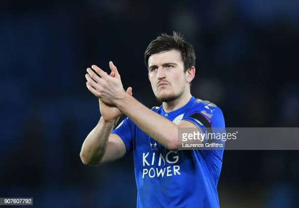 Harry Maguire of Leicester City shows appreciation to the fans after the Premier League match between Leicester City and Watford at The King Power...