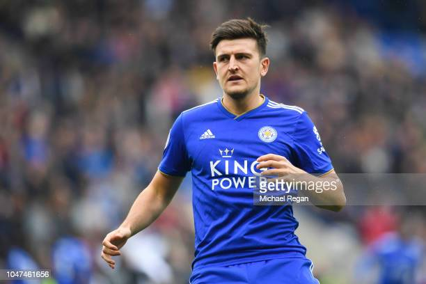Harry Maguire of Leicester in action during the Premier League match between Leicester City and Everton FC at The King Power Stadium on October 6...