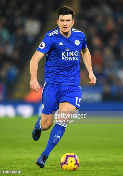 Harry Maguire of Leicester in action during the Premier League match between Leicester City and Brighton Hove Albion at The King Power Stadium on...