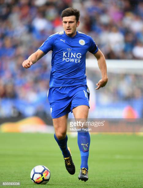 Harry Maguire of Leicester in action during the Premier League match between Leicester City and Brighton and Hove Albion at The King Power Stadium on...