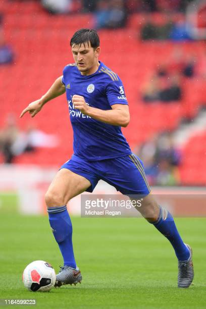 Harry Maguire of Leicester in action during the Pre-Season Friendly match between Stoke City and Leicester City at the Bet365 Stadium on July 27,...