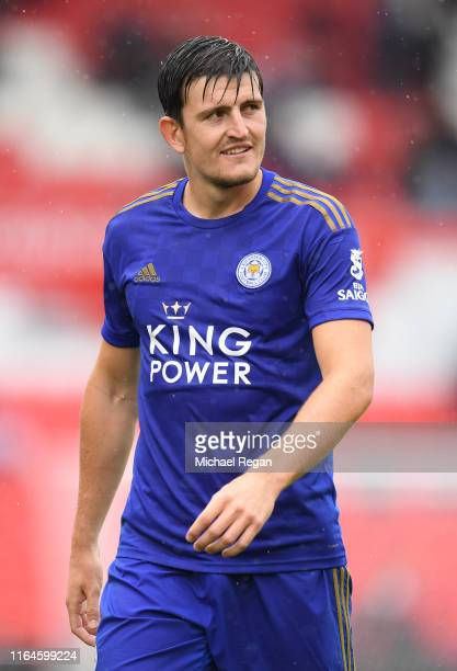 Harry Maguire of Leicester in action during the PreSeason Friendly match between Stoke City and Leicester City at the Bet365 Stadium on July 27 2019...