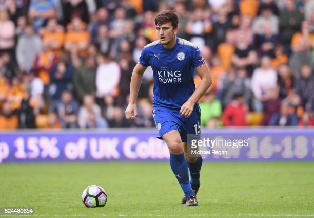 Harry Maguire of Leicester in action during the preseason friendly match between Wolverhampton Wanderers and Leicester City at Molineux on July 29...