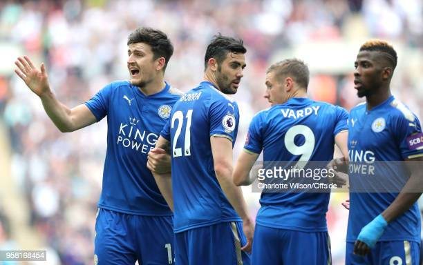 Harry Maguire of Leicester looks back as he organises the freekick wall during the Premier League match between Tottenham Hotspur and Leicester City...