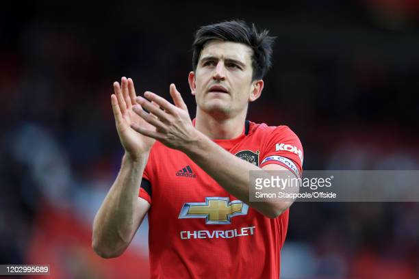 Harry Maguire of Man Utd applauds the support after the Premier League match between Manchester United and Watford FC at Old Trafford on February 23...