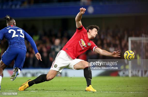 Harry Maguire of Man Utd during the Premier League match between Chelsea FC and Manchester United at Stamford Bridge on February 17 2020 in London...