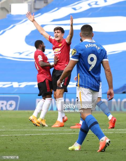 Harry Maguire of Manchester United appeals for a penalty during the Premier League match between Brighton & Hove Albion and Manchester United at...