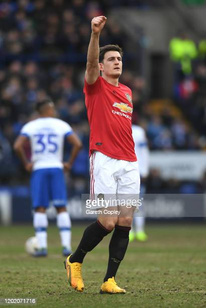 Harry Maguire of Manchester United celebrates after scoring his team's first goal during the FA Cup Fourth Round match between Tranmere Rovers and...