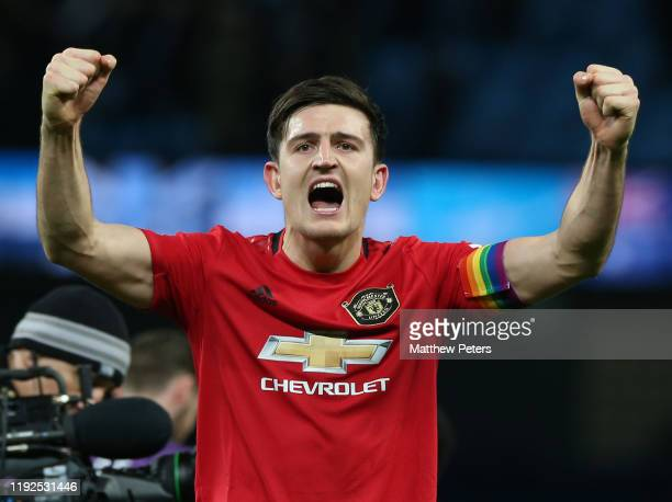 Harry Maguire of Manchester United celebrates after the Premier League match between Manchester City and Manchester United at Etihad Stadium on...