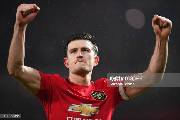 Harry Maguire of Manchester United celebrates after the Premier League match between Manchester United and Manchester City at Old Trafford on March...