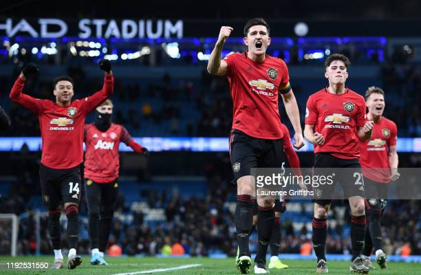 Harry Maguire of Manchester United celebrates following his sides victory in the Premier League match between Manchester City and Manchester United...