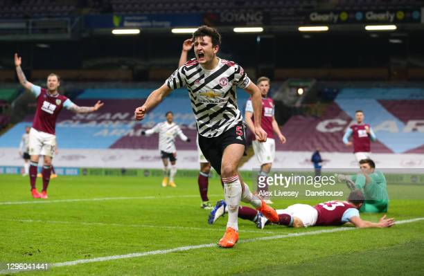 Harry Maguire of Manchester United celebrates his goal which is subsequently disallowed during the Premier League match between Burnley and...