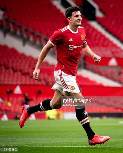 Harry Maguire of Manchester United celebrates scoring a goal to make the score 2-0 during the pre-season friendly match between Manchester United and...