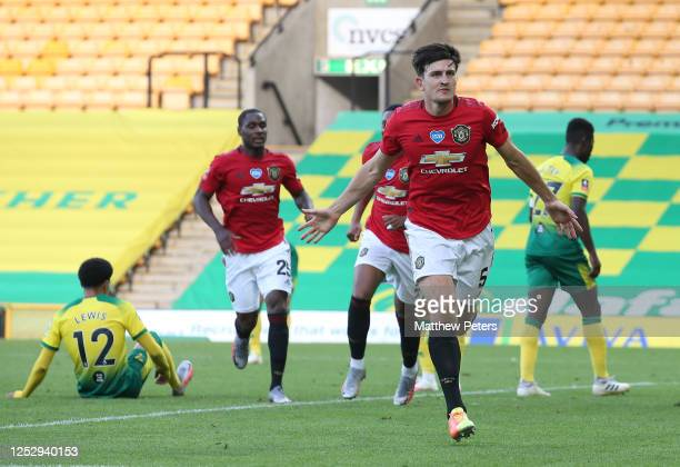 Harry Maguire of Manchester United celebrates scoring their second goal during the FA Cup Quarter Final match between Norwich City and Manchester...