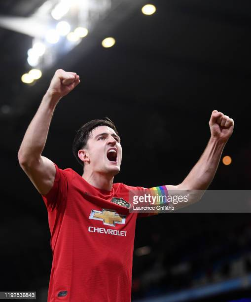 Harry Maguire of Manchester United celebrates victory at the end of the match during the Premier League match between Manchester City and Manchester...