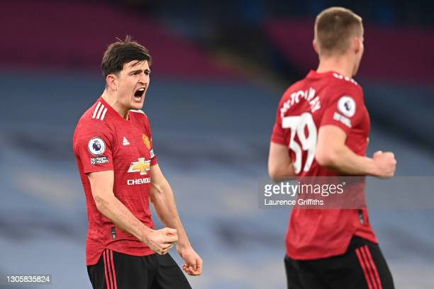 Harry Maguire of Manchester United celebrates victory following the Premier League match between Manchester City and Manchester United at Etihad...