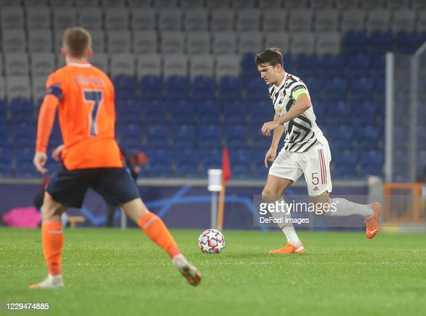 Harry Maguire of Manchester United controls the ball during the UEFA Champions League Group H stage match between Istanbul Basaksehir and Manchester...