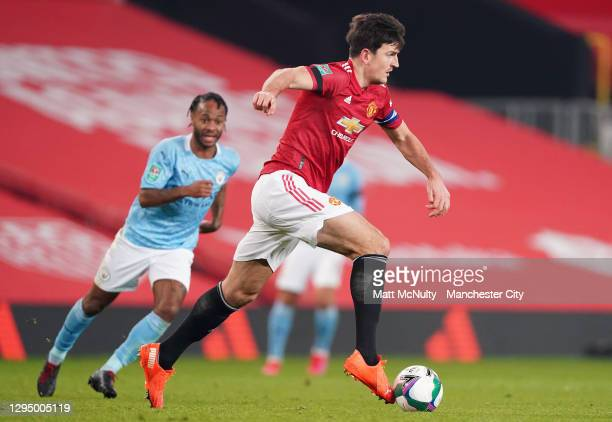 Harry Maguire of Manchester United during the Carabao Cup Semi Final match between Manchester United and Manchester City at Old Trafford on January...
