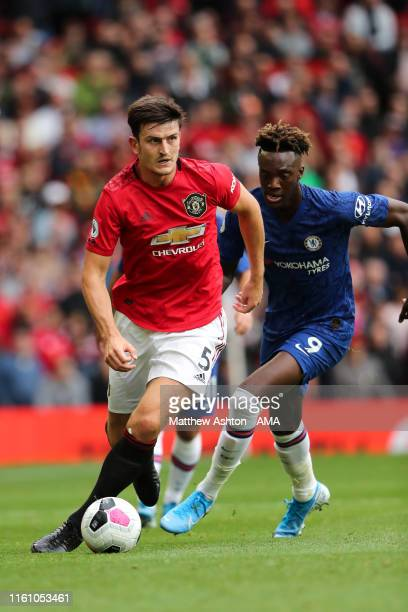 Harry Maguire of Manchester United during the Premier League match between Manchester United and Chelsea FC at Old Trafford on August 11 2019 in...