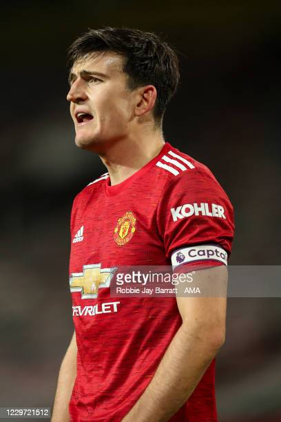 Harry Maguire of Manchester United during the Premier League match between Manchester United and West Bromwich Albion at Old Trafford on November 21...