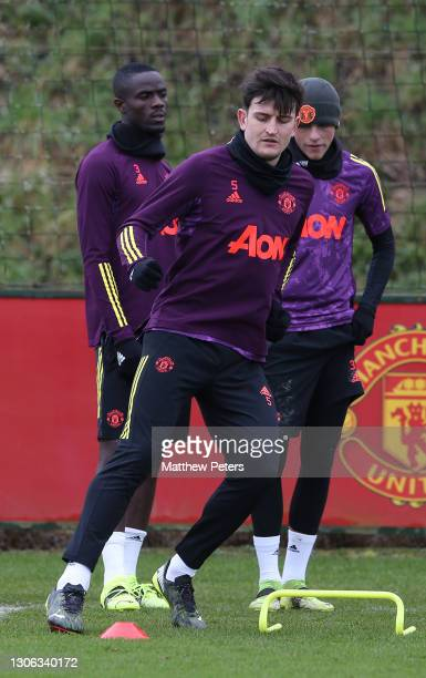 Harry Maguire of Manchester United in action during a first team training session at Aon Training Complex on March 10, 2021 in Manchester, England.