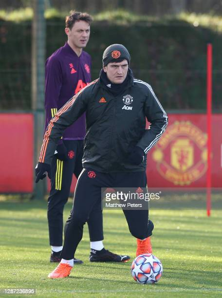 Harry Maguire of Manchester United in action during a first team training session ahead of the UEFA Champions League Group H stage match between...