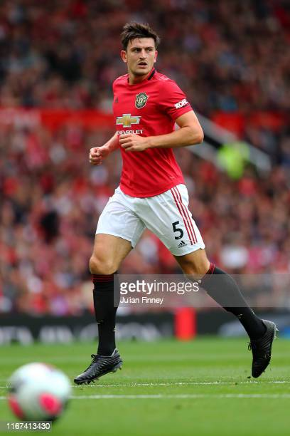 Harry Maguire of Manchester United in action during the Premier League match between Manchester United and Chelsea FC at Old Trafford on August 11,...