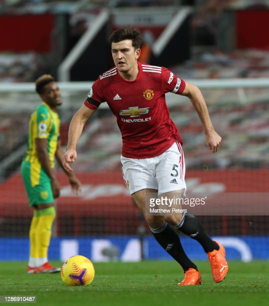 Harry Maguire of Manchester United in action during the Premier League match between Manchester United and West Bromwich Albion at Old Trafford on...